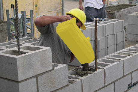 Grout Grunt used for filling blocks